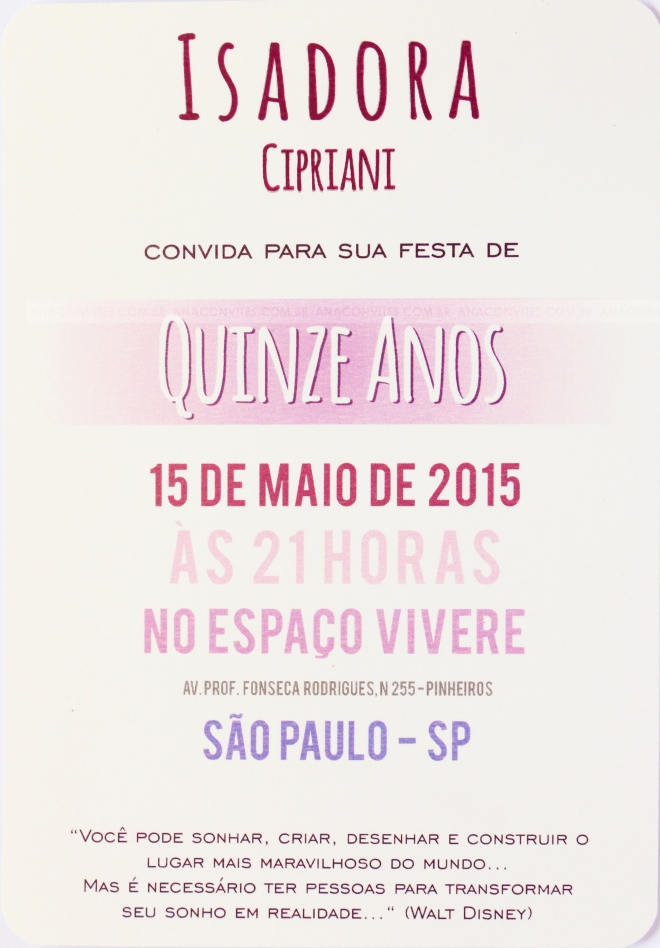 Convite 15 Anos Ana Convites